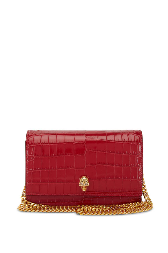 Alexander McQueen Skull Raspberry Croc Embossed Leather Small Bag