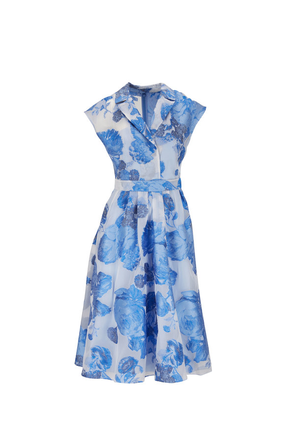 Lela Rose Cornflower Blue Floral Jacquard Full-Skirt Dress