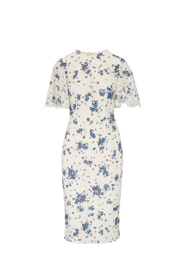 Lela Rose Cream & Blue Floral Lace Flutter Sleeve Dress