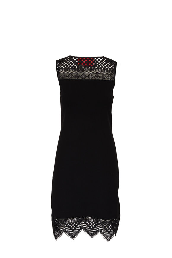Carolina Herrera Black Knit Guipure Lace Trim Shift Dress