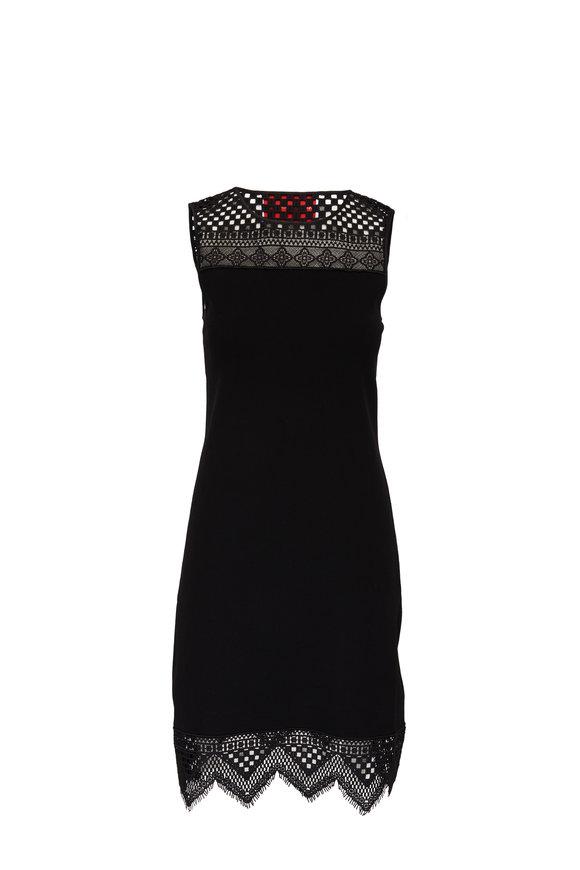 Carolina Herrera Black Knit Guipure Lace Trim Shift Dress