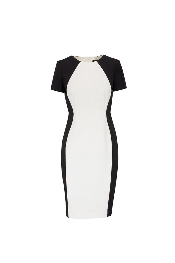 Paule Ka Black Jersey & White Bouclé Short Sleeve Dress