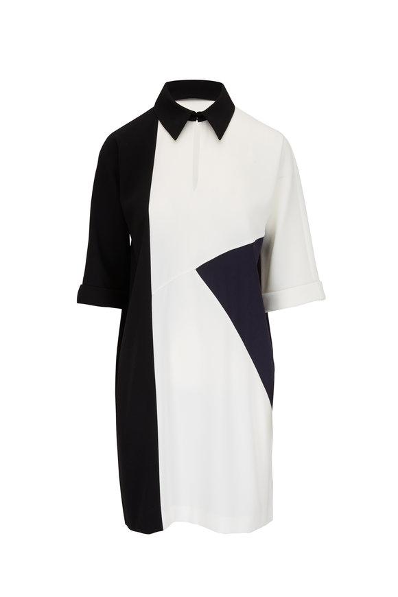 Paule Ka Black & Off-White Dolman Sleeve Dress