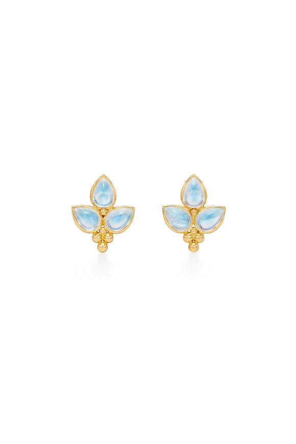 Temple St. Clair 18K Yellow Gold Foglia Moonstone Earrings