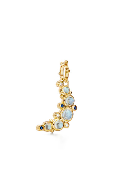Temple St. Clair - Gold Moonstone, Diamond & Sapphire Moon Pendant