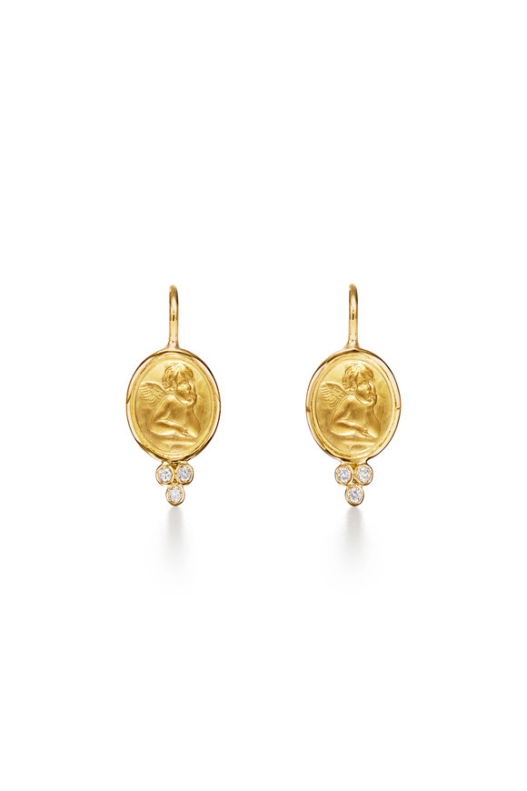 Temple St. Clair 18K Yellow Gold Angel Triple Diamond Earrings