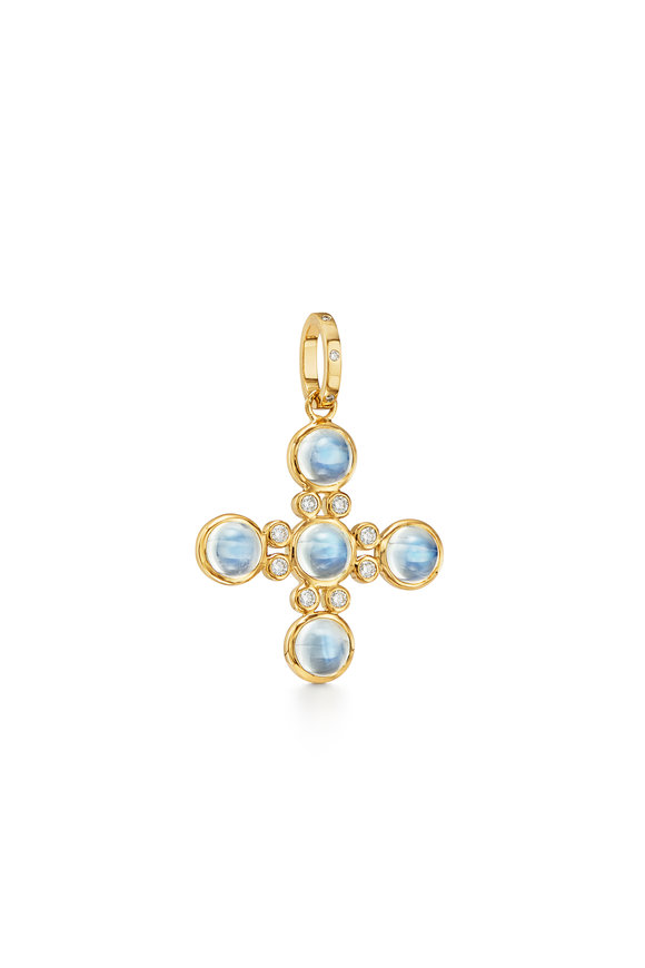 Temple St. Clair 18K Yellow Gold Moonstone Cross Pendant