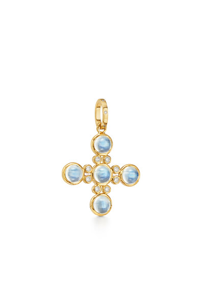 Temple St. Clair - 18K Yellow Gold Moonstone Cross Pendant