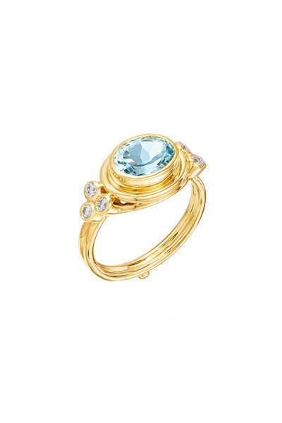 Temple St. Clair - 18K Yellow Gold Aquamarine & Diamond Faceted Ring