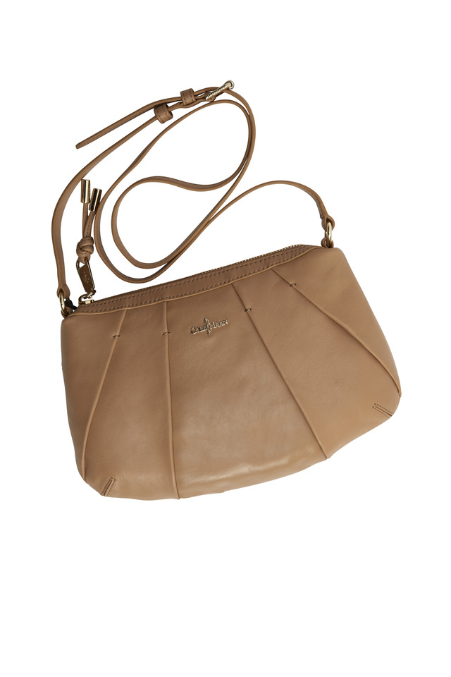 Adele Sandstone Leather Pleated Small Bag