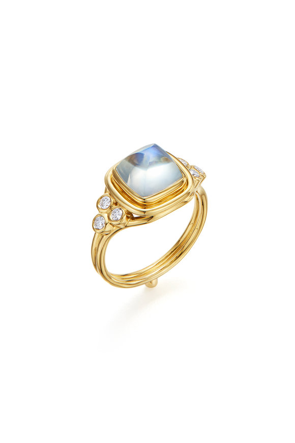 Temple St. Clair 18K Yellow Gold Classic Sugar Loaf Moonstone Ring