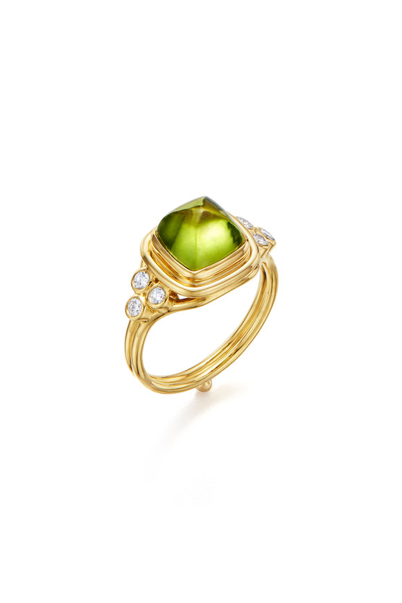 Temple St. Clair 18K Yellow Gold Classic Sugar Loaf Peridot Ring