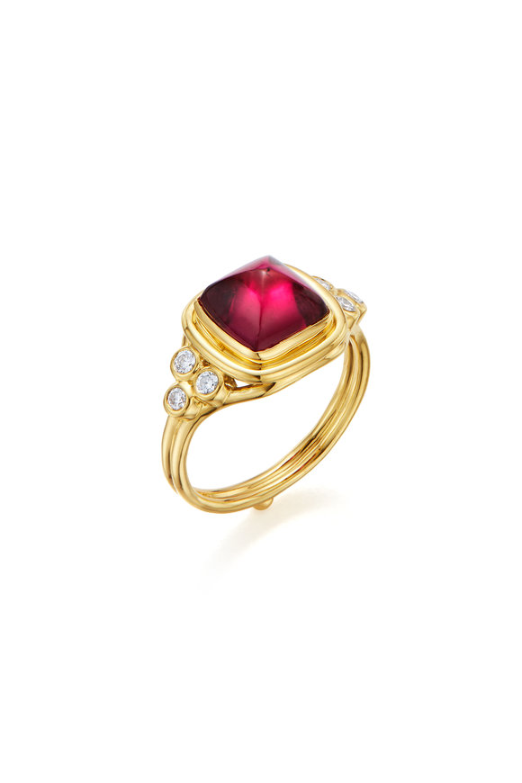 Temple St. Clair 18K Yellow Gold Classic Sugar Loaf Rubellite Ring