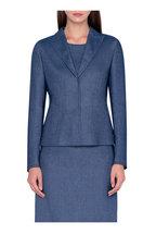 Akris - Ink Blue Wool Blend Jacket