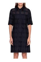 Akris - Black Transparent Check Elbow Sleeve Shirtdress