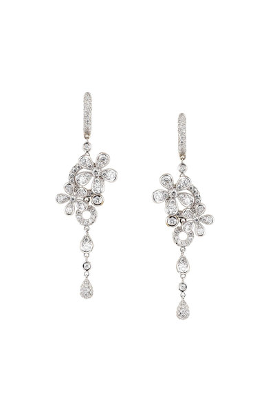 Mariani - 18K White Gold Botticelli Diamond Earrings
