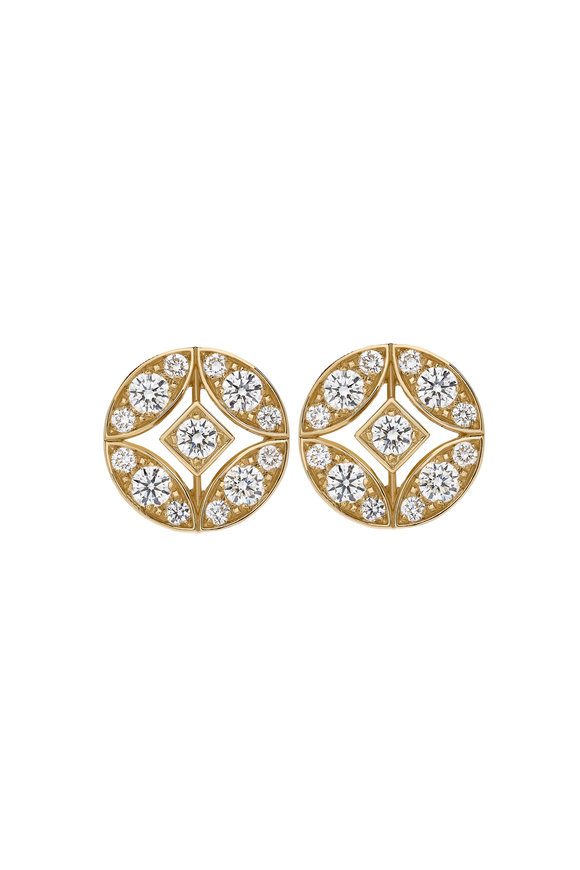 Mariani 18K Yellow Gold Lucilla Round Diamond Earrings