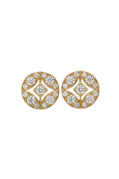 Mariani - 18K Yellow Gold Lucilla Round Diamond Earrings