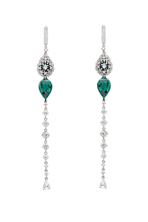 Mariani 18K White Gold Diamond & Emerald Drop Earrings