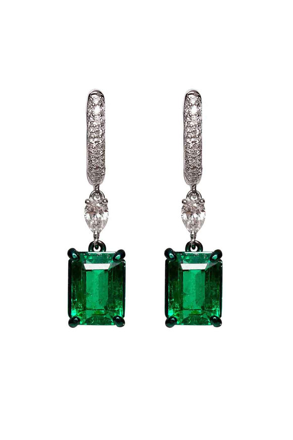 Mariani 18K White Gold  Diamond & Emerald Earrings