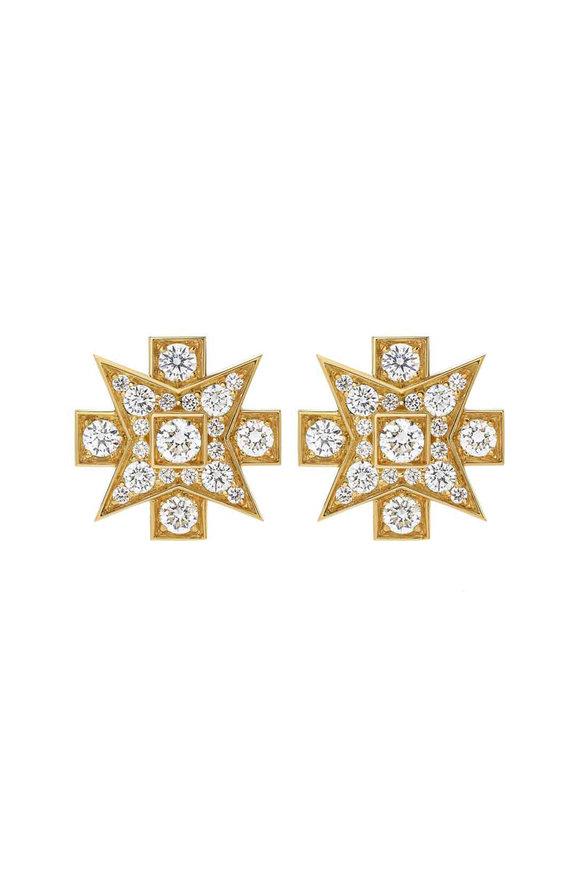 Mariani 18K Yellow Gold Maltese Diamond Earrings