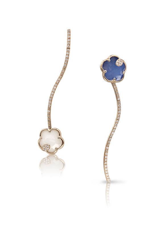 Pasquale Bruni Rose Gold Ton Joli Blue & White Earrings