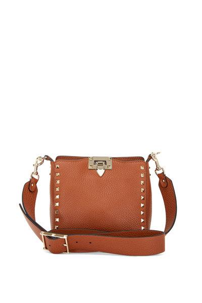 Valentino Garavani - Rockstud Medium Brown Leather Mini Hobo Crossbody