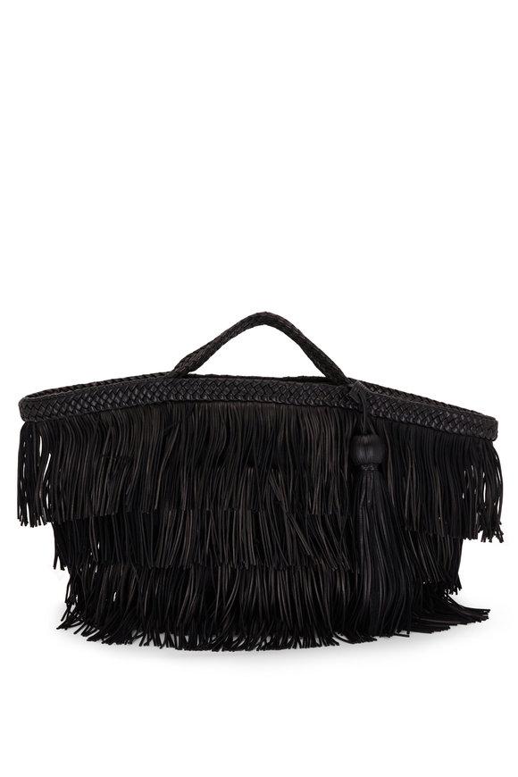 Saint Laurent Panier Black Fringe Leather Tote Bag