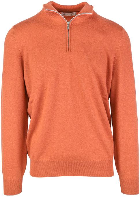 Brunello Cucinelli Orange Cashmere Quarter-Zip Sweater