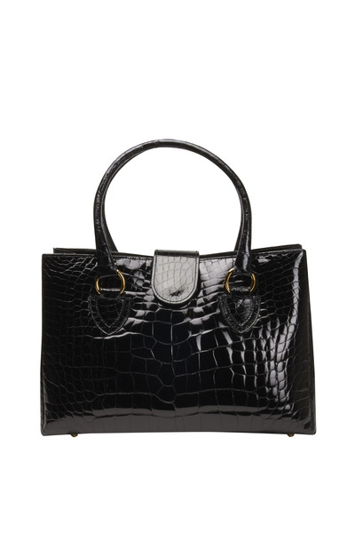 Olop - Black Alligator Tote