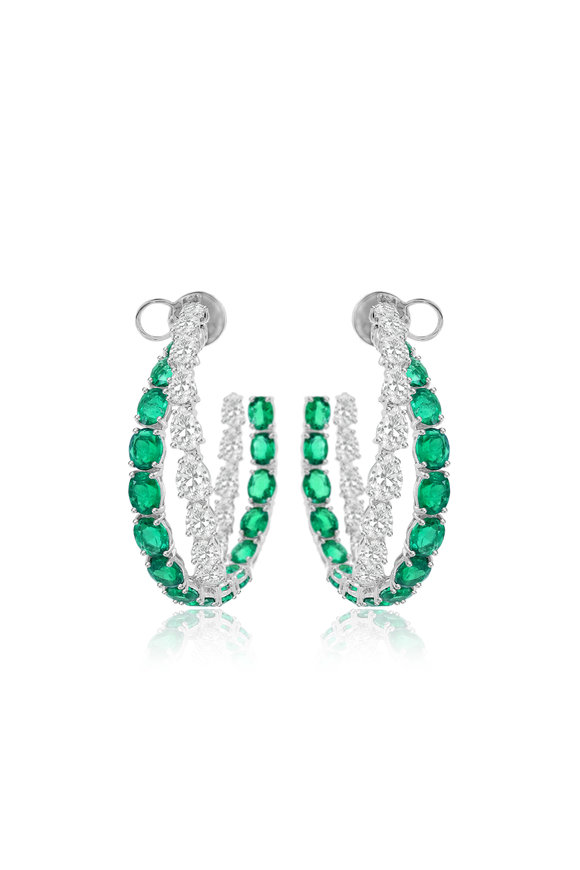 Sutra White Gold Diamond & Emerald Double Hoop Earrings
