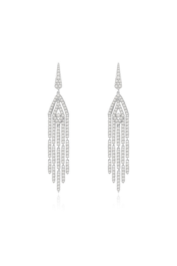 Sutra 18K White Gold Diamond Tassel Earrings