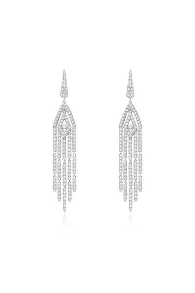 Sutra - 18K White Gold Diamond Tassel Earrings