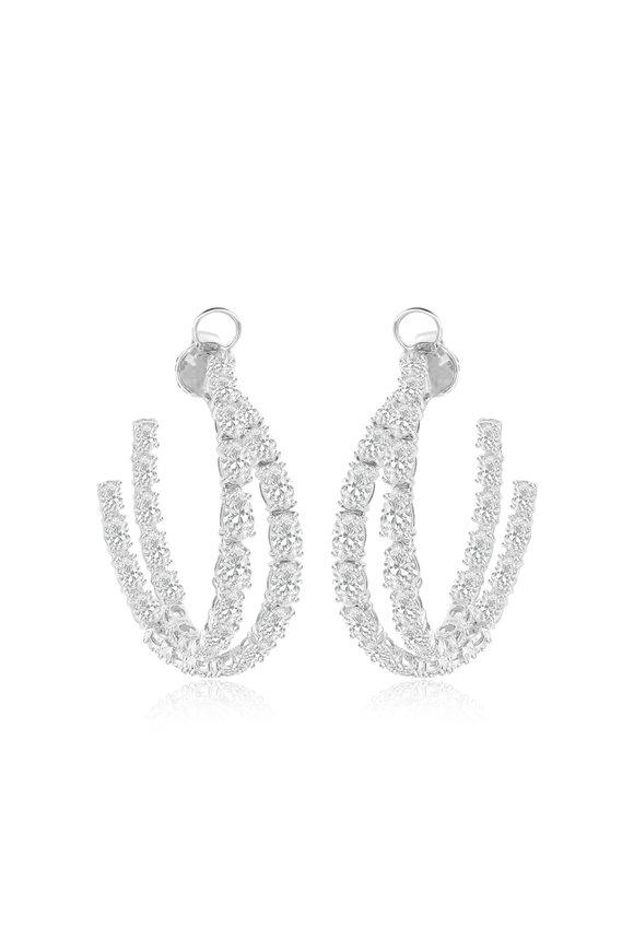Sutra 18K White Gold Double Diamond Hoop Earrings