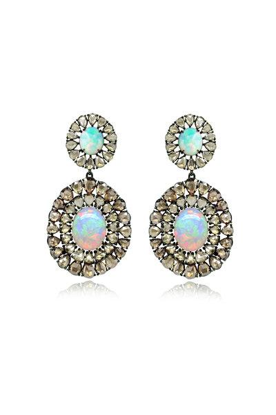 Sutra - 18K Blackened White Gold Opal & Diamond Earrings