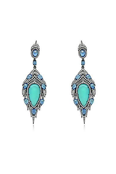 Sutra - 18K Gold Blue Agate Feather Earrings