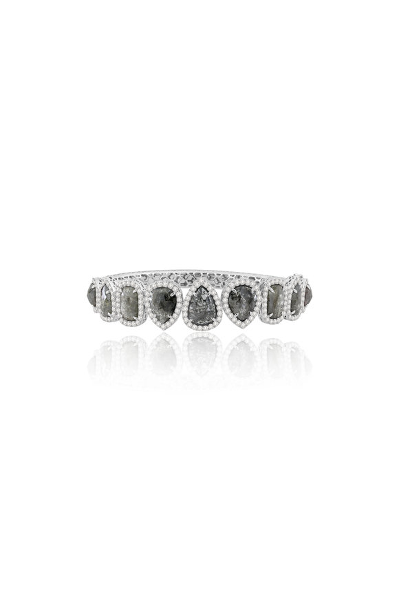 Sutra 18K White Gold Rough Diamond Bracelet