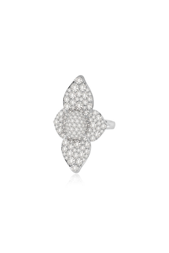Sutra 18K White Gold Diamond Flower Ring