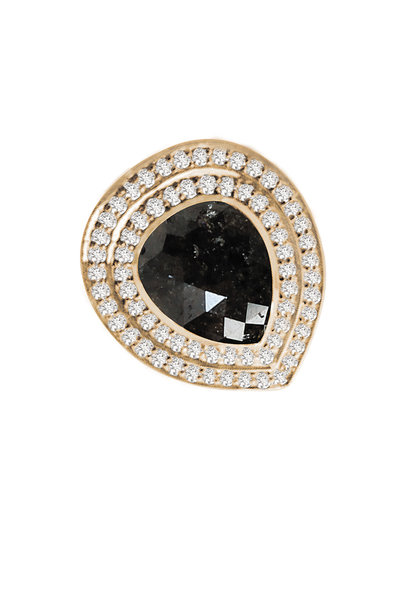 Sutra - 18K Gold Black & White Diamond Teardrop Ring