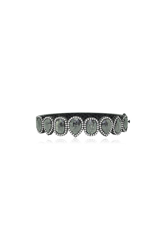 Sutra 18K White Gold Black Rough Diamond Bracelet
