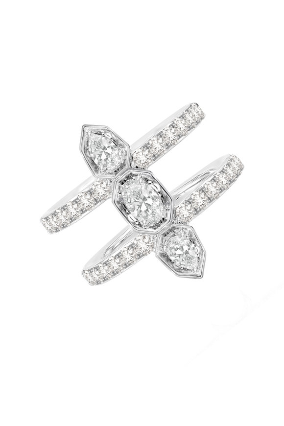 Sutra 18K White Gold Double Row Diamond Ring
