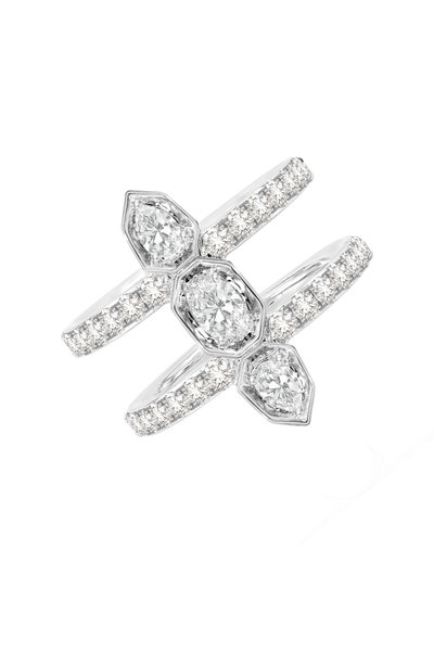 Sutra - 18K White Gold Double Row Diamond Ring