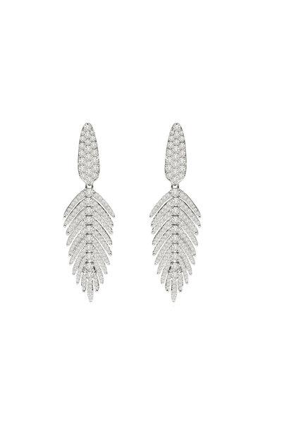 Sutra - 18K White Gold Diamond Dangle Earrings