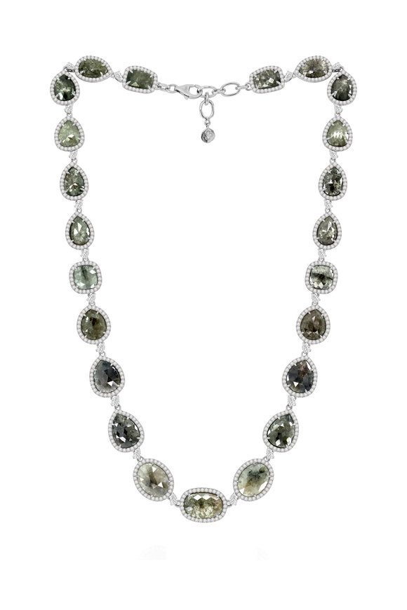 Sutra 18K White Gold Rough Diamond Necklace