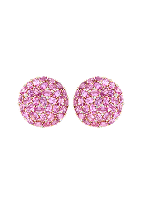 Sutra Rose Gold Pink Sapphire & Diamond Button Earrings
