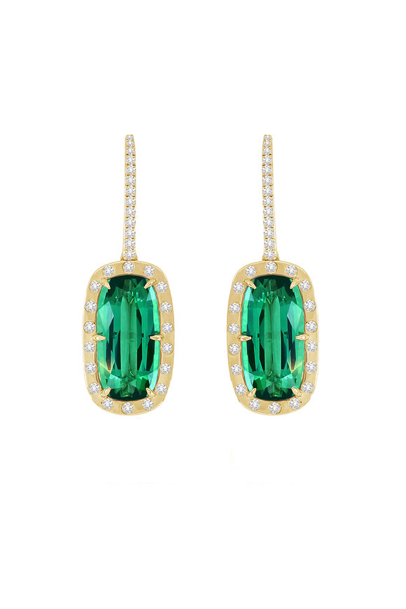 Sutra 18K Yellow Gold Tourmaline & Diamond Earrings