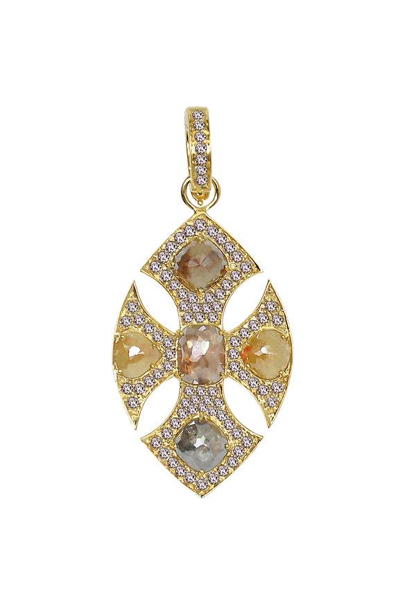 Sutra 18K Yellow Gold Rough Diamond Cross Pendant