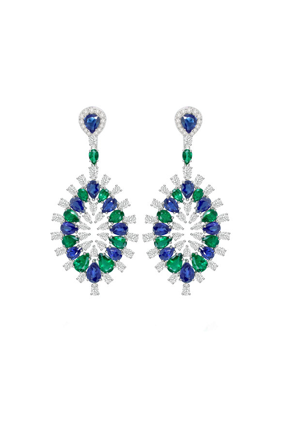 Sutra White Gold Sapphire, Diamond & Emerald Earrings