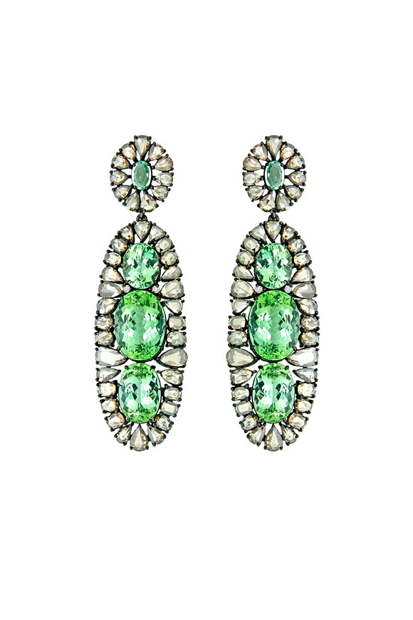 Sutra Blackened Gold Mint Tourmaline & Diamond Earrings