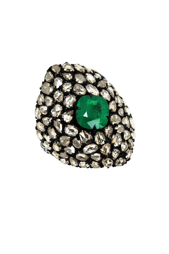 Sutra 18K Blackened White Gold Emerald & Diamond Ring